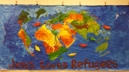 Messy Church refugees mural